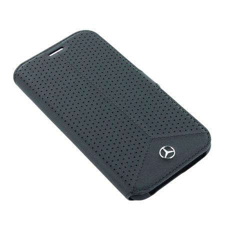 Mercedes-Benz Genuine Leather Samsung Galaxy S7 Edge Book Case - Black