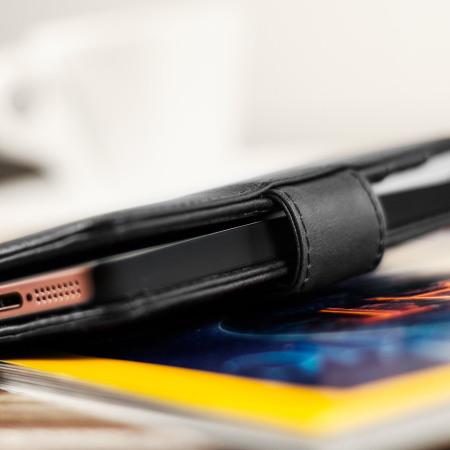 Olixar Genuine Leather iPhone SE Wallet Case - Black