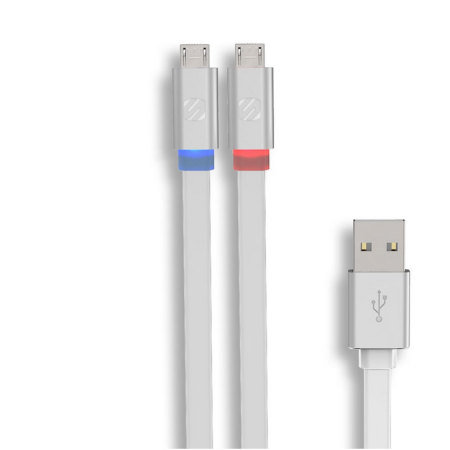 Scosche FlatOut LED Micro USB Tangle-Free 6 Foot Cable - White