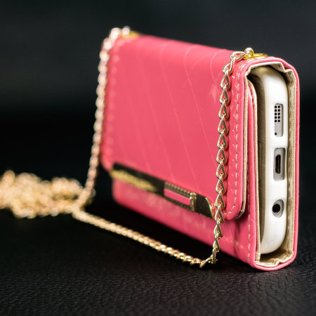 Olixar Leather Style Galaxy S7 Purse Case with Shoulder Strap - Pink