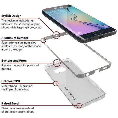 Ghostek Cloak Samsung Galaxy S6 Edge Tough Case - Clear / Silver