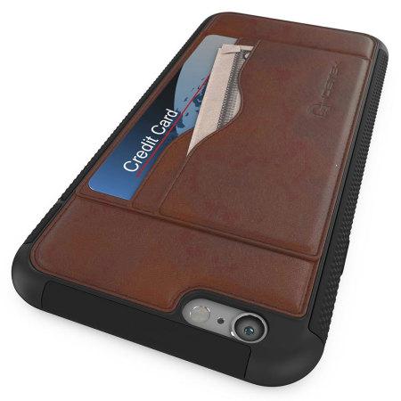 ghostek stash iphone 6s 6 genuine leather wallet case light brown