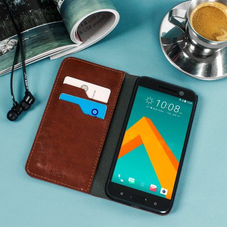 Contact the olixar leather style htc 10 wallet stand case brown them