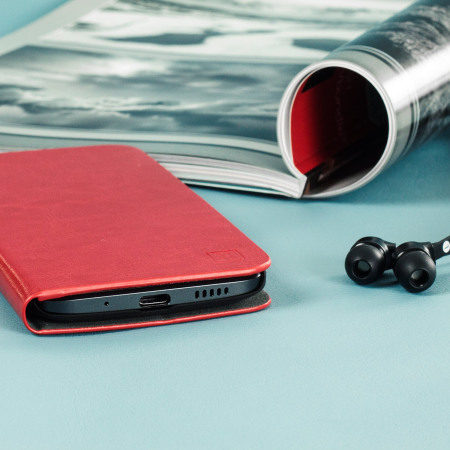 the size and olixar leather style htc 10 wallet stand case red have