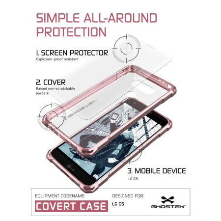 ghostek covert lg g5 bumper case clear pink done