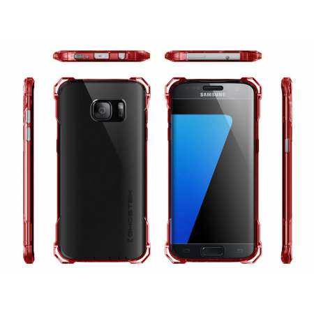 phone's ghostek covert samsung galaxy s7 edge bumper case clear red closing