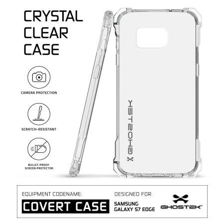 ghostek covert samsung galaxy s7 edge bumper case clear pink finger