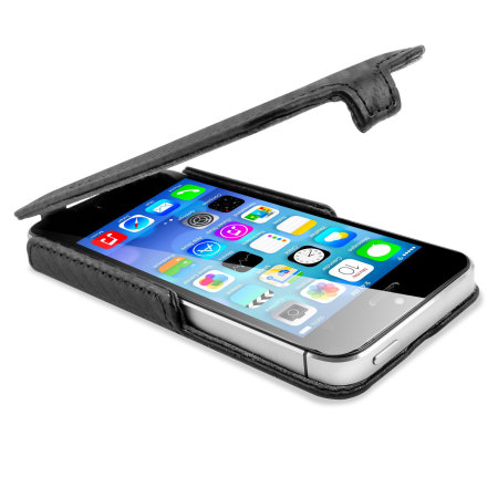 Slimline Carbon Fibre Style iPhone SE Flip Case - Black