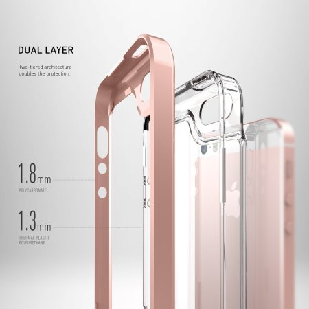 Caseology Skyfall Series iPhone SE Case - Rose Gold / Clear