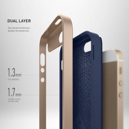 Caseology Wavelength Series iPhone SE Case - Navy Blue / Gold