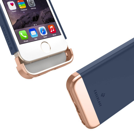 Caseology Savoy Series Iphone Se Slider Case Navy Blue Rose Gold