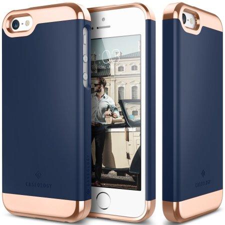 Caseology Savoy Series iPhone SE Slider Case - Navy Blue / Rose Gold