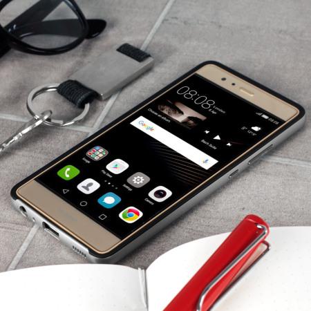 Coque Huawei P9 Bumper Frame Fibre Carbone - Argent
