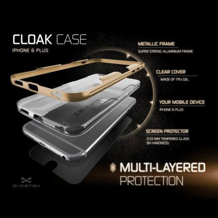Ghostek Cloak iPhone 6S Plus / 6 Plus Tough Case - Clear / Gold