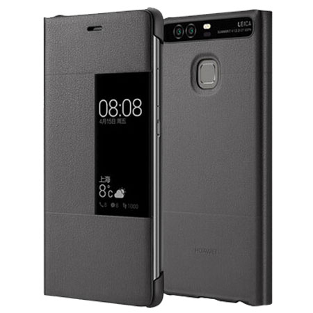 huawei p9 grey. official huawei p9 smart view flip case - dark grey