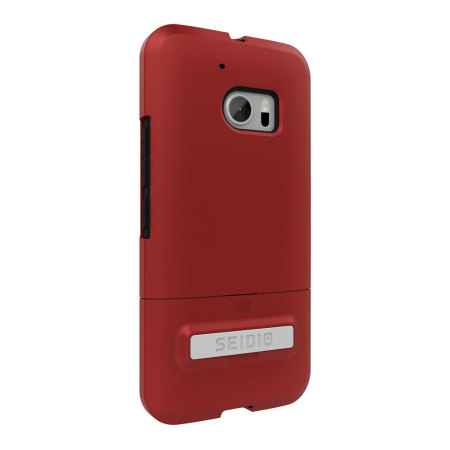 Seidio SURFACE HTC 10 Case & Metal Kickstand - Red / Black