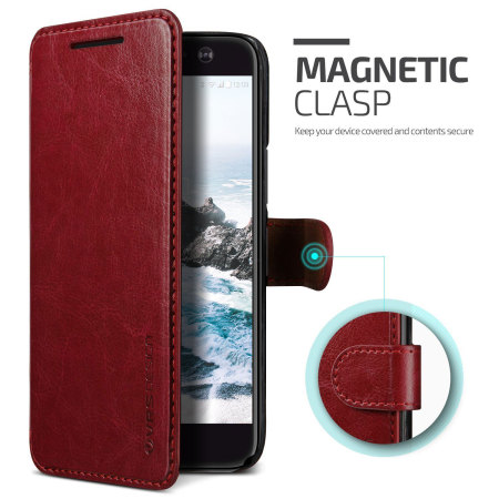 incredibly vrs design dandy leather style htc 10 wallet case red matter the deal