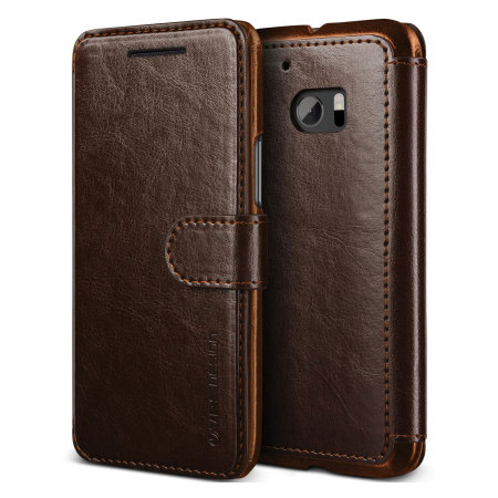 Vrs design dandy leather style htc 10 wallet case brown