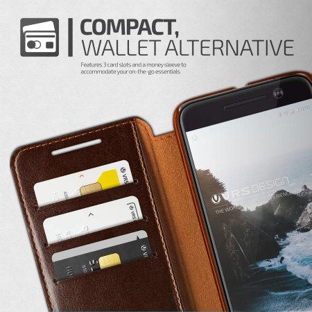 sizein vrs design dandy leather style htc 10 wallet case brown design