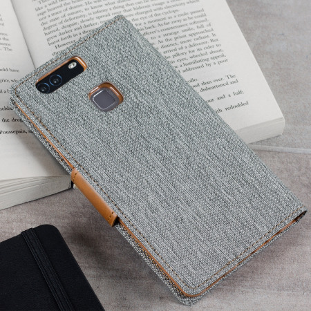 Mercury Canvas Diary Huawei P9 Plus Wallet Case - Grey / Camel