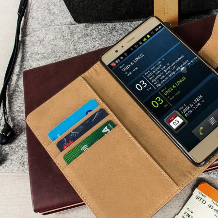 Olixar Leather-Style Huawei P9 Wallet Case - Black / Tan