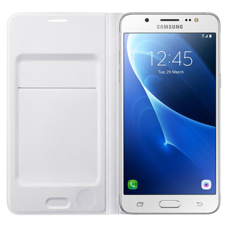 info for 0d5ad f4406 Official Samsung Galaxy J5 2016 Flip Wallet Cover - White