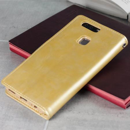 Mercury Blue Moon Flip Huawei P9 Plus Wallet Case - Gold