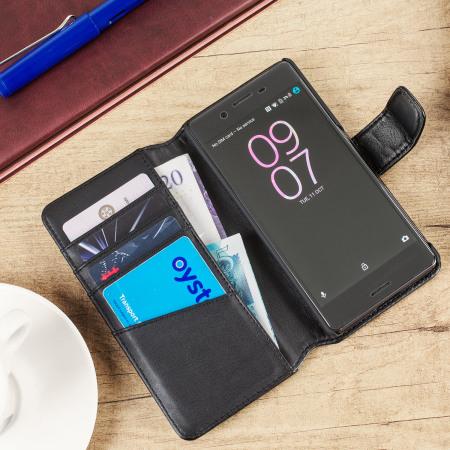 olixar genuine leather sony xperia x wallet case black 2