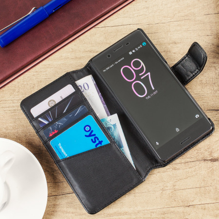 olixar genuine leather sony xperia x wallet case black 4