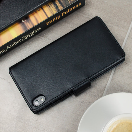 fits olixar genuine leather sony xperia xa wallet case black left phone