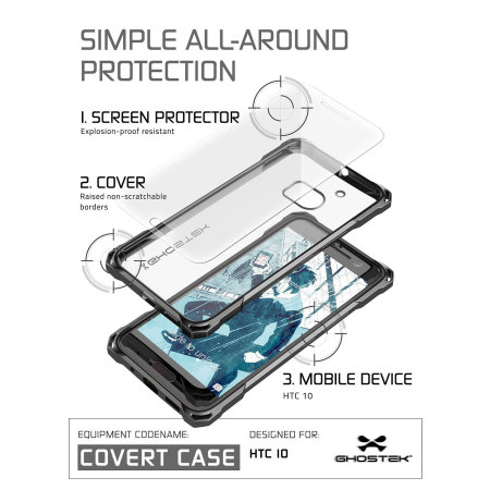 ghostek covert htc 10 bumper case clear black