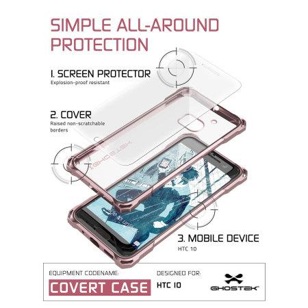 ghostek covert htc 10 bumper case clear peach can