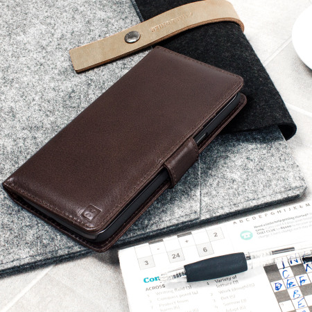 online retailer bad0d d9ed5 Olixar Genuine Leather Moto G4 Plus Wallet Stand Case - Brown