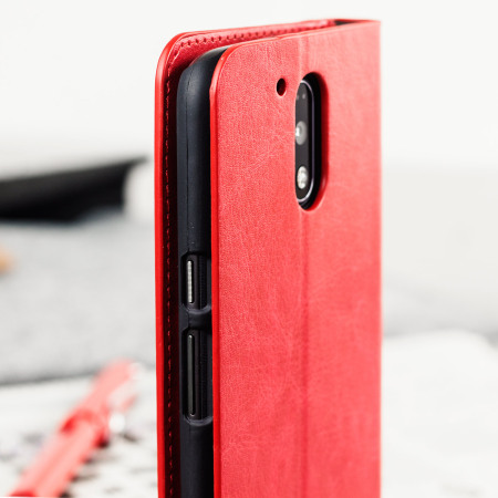 Olixar Leather Style Moto G4 Wallet Stand Case Red