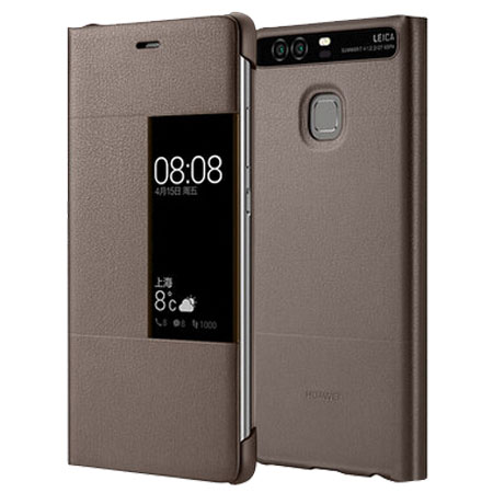 Official Huawei P9 Plus Smart View Flip Case - Brown