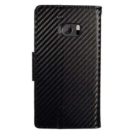 zizo carbon fibre style htc 10 wallet case black