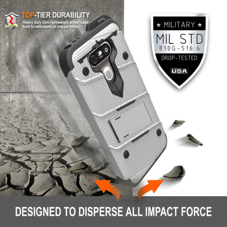 Zizo Bolt Series LG G5 Tough Case & Belt Clip - Steel
