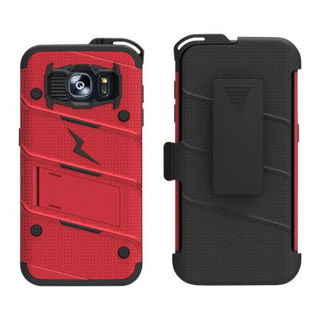 cheaper 75e86 679fc Zizo Bolt Series Samsung Galaxy S7 Edge Tough Case & Belt Clip - Red