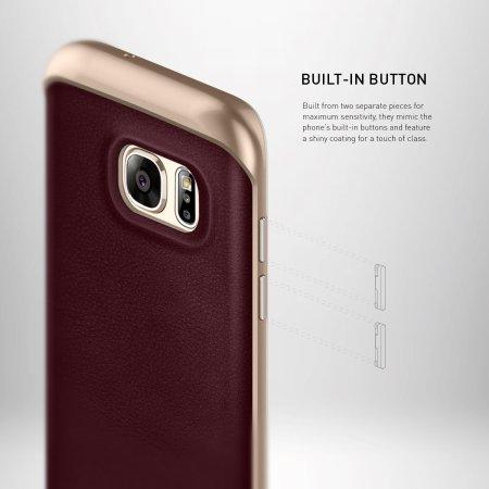 Caseology Envoy Series Galaxy S7 Edge Case - Cherry Oak Leather
