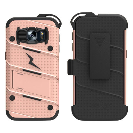 Zizo Bolt Series Samsung Galaxy S7 Tough Case & Belt Clip - Rose Gold