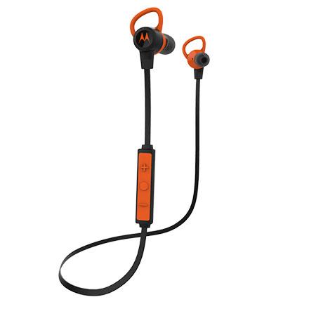 TRUMPery motorola verveloop wireless bluetooth earbuds black orange long ago
