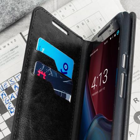Olixar Leather-Style Moto G4 Plus Wallet Stand Case - Black