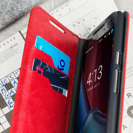 Olixar Leather-Style Moto G4 Plus Wallet Stand Case - Red