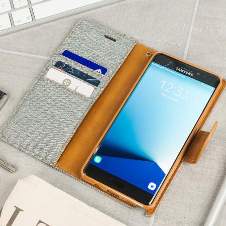 Mercury Canvas Diary Samsung Galaxy Note 7 Wallet Tasche Grau / Camel