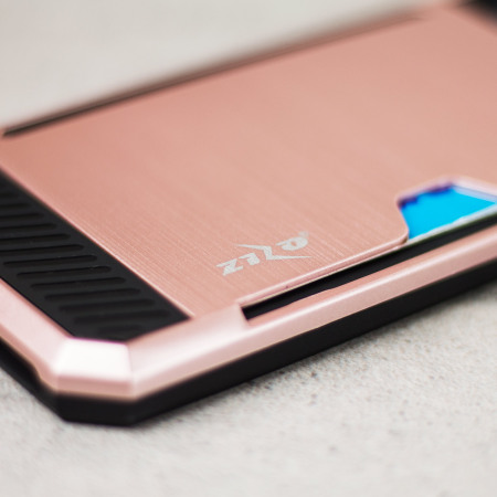 zizo metallic hybrid card slot iphone 7 case rose gold