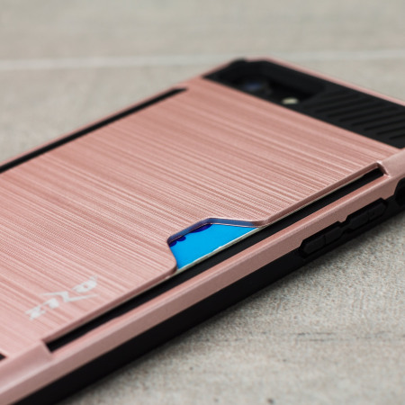 star hands-on zizo metallic hybrid card slot iphone 7 case rose gold