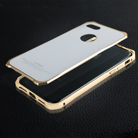Luphie Tempered Glass and Metal iPhone 7 Bumper Case - Gold & White