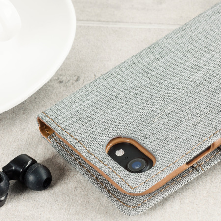 Mercury Canvas Diary iPhone 7 Wallet Case - Grey / Camel