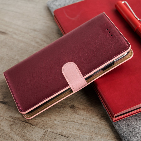 Hansmare Calf iPhone 7 Plus Wallet Case - Wine Pink