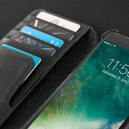 Vaja Wallet Agenda iPhone 7 Plus Premium Leather Case - Black